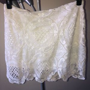 Dresses & Skirts - White crochet skirt with white slip attached